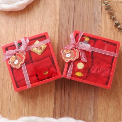 [Kori Deer 可莉鹿]春節大紅防滑嬰兒童襪4雙組禮盒