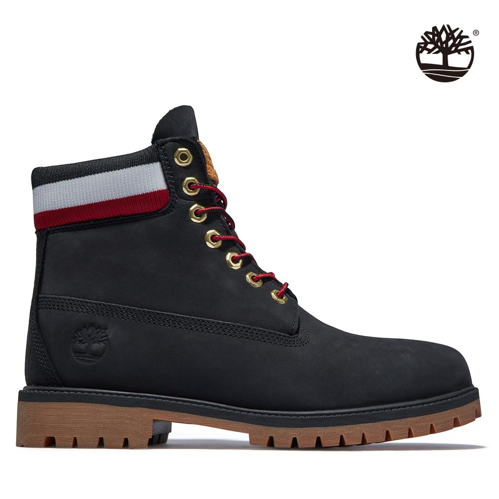 Timberland 男款黑色磨砂革三色鞋領防水6吋靴|A2GZ9001
