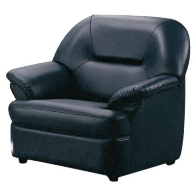 文創集 麥西隆時尚黑透氣皮革單人座沙發椅-80x100x87cm免組