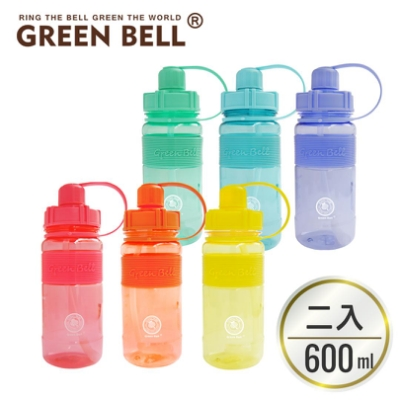 [買一送一] GREEN BELL綠貝棉花糖彈跳吸管太空壺600ml (附背帶)