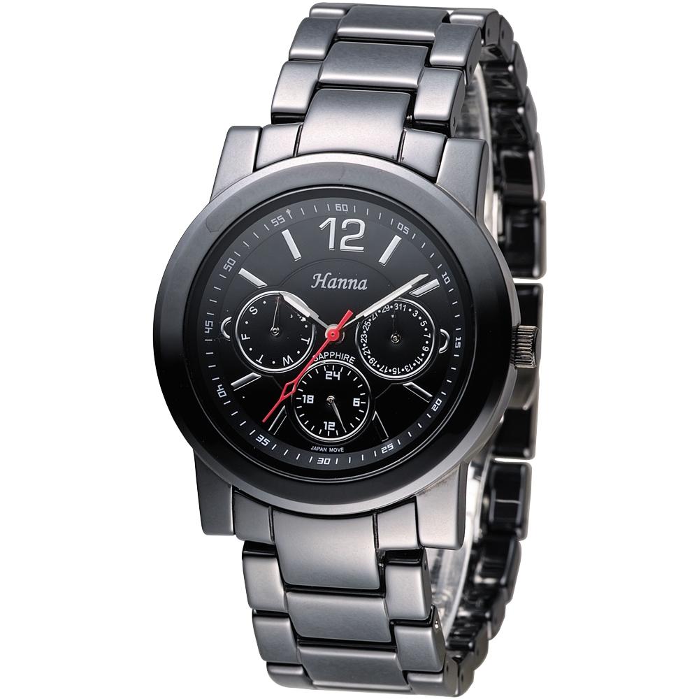 Hanna 巴黎時尚全日曆黑陶瓷腕錶-銀刻(H6941G-VX3J-5)/38mm