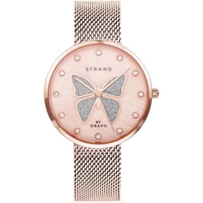STRAND 丹麥海之星時尚腕錶-蝴蝶-玫瑰金/35mm(S700LXVVMV-DB)