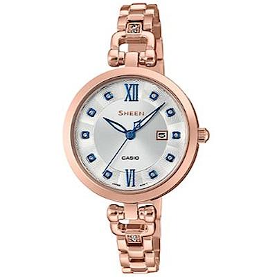 SHEEN 細緻婉約水晶點綴蜜桃金藍針不鏽鋼腕錶(SHE-4055PG-7)白面/37mm