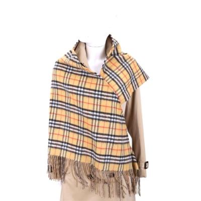 BURBERRY Vintage 超大版型 雙面兩用格紋喀什米爾羊毛圍巾