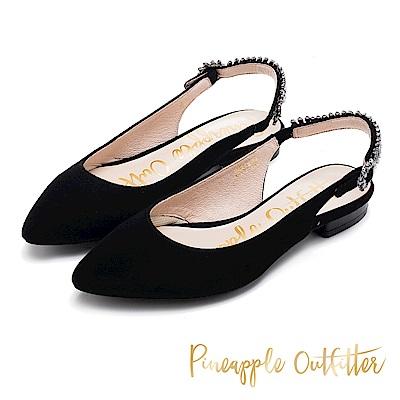 Pineapple Outfitter 低調奢華 水鑽後繫帶低跟鞋-黑色