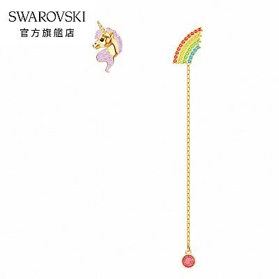 SWAROVSKI 施華洛世奇 Unicorn 淡金色彩虹獨角獸穿孔耳環