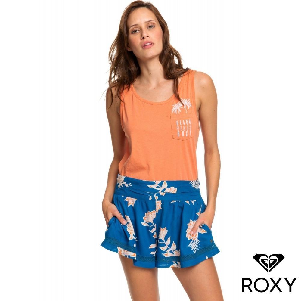 【ROXY】BOHO DREAMS 絲質短褲 藍