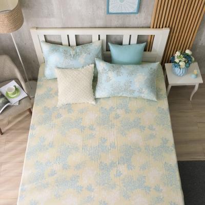 鴻宇 100%精梳棉 昆蒂娜 藍 雙人加大床包枕套三件組