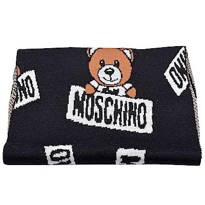 MOSCHINO 小熊玩偶圖案造型羊毛針織圍巾(黑)