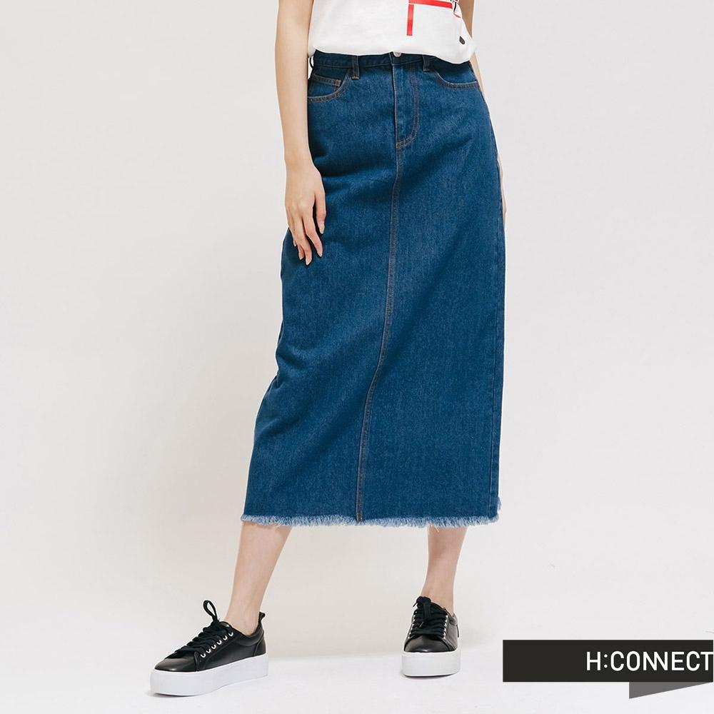 H:CONNECT 韓國品牌 女裝 - 後開衩抽鬚牛仔長裙 - 藍