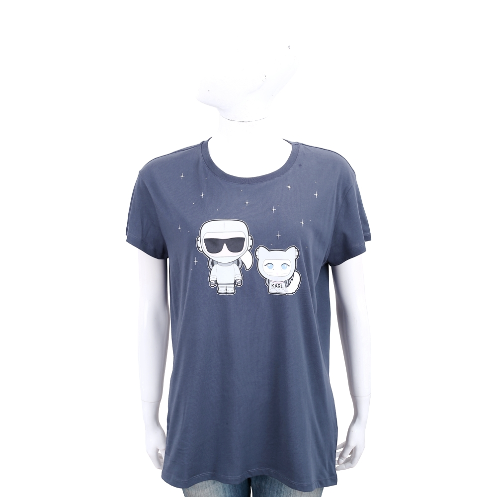 KARL LAGERFELD 膠囊系列 卡爾和貓太空造型圖案深藍色棉短T恤
