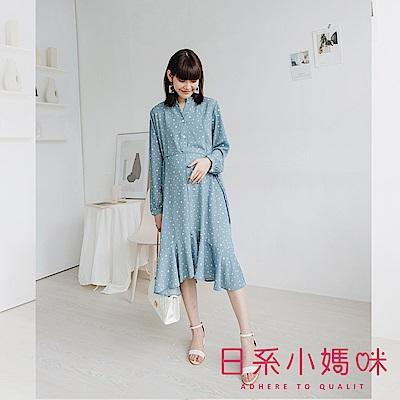 日系小媽咪孕婦裝-孕婦裝~知性甜美不規則點點圖樣魚尾裙襬洋裝 附綁帶