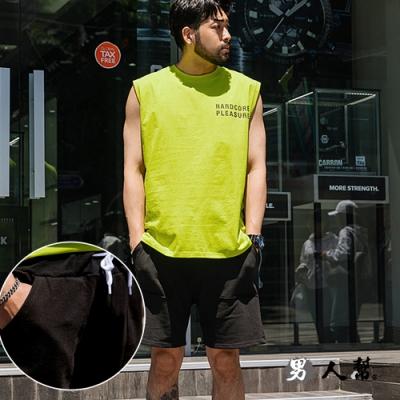 男人幫大尺碼  K0621*素面彈性休閒運動短褲