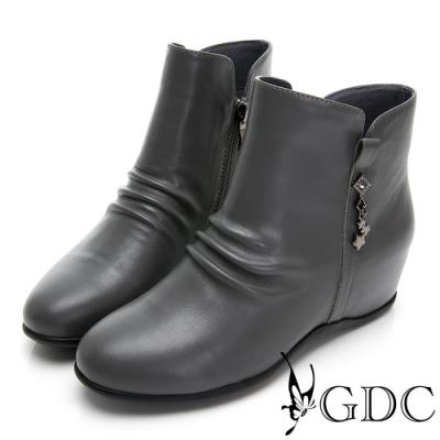 GDC-素色基本真皮抓皺質感內增高短靴-灰色