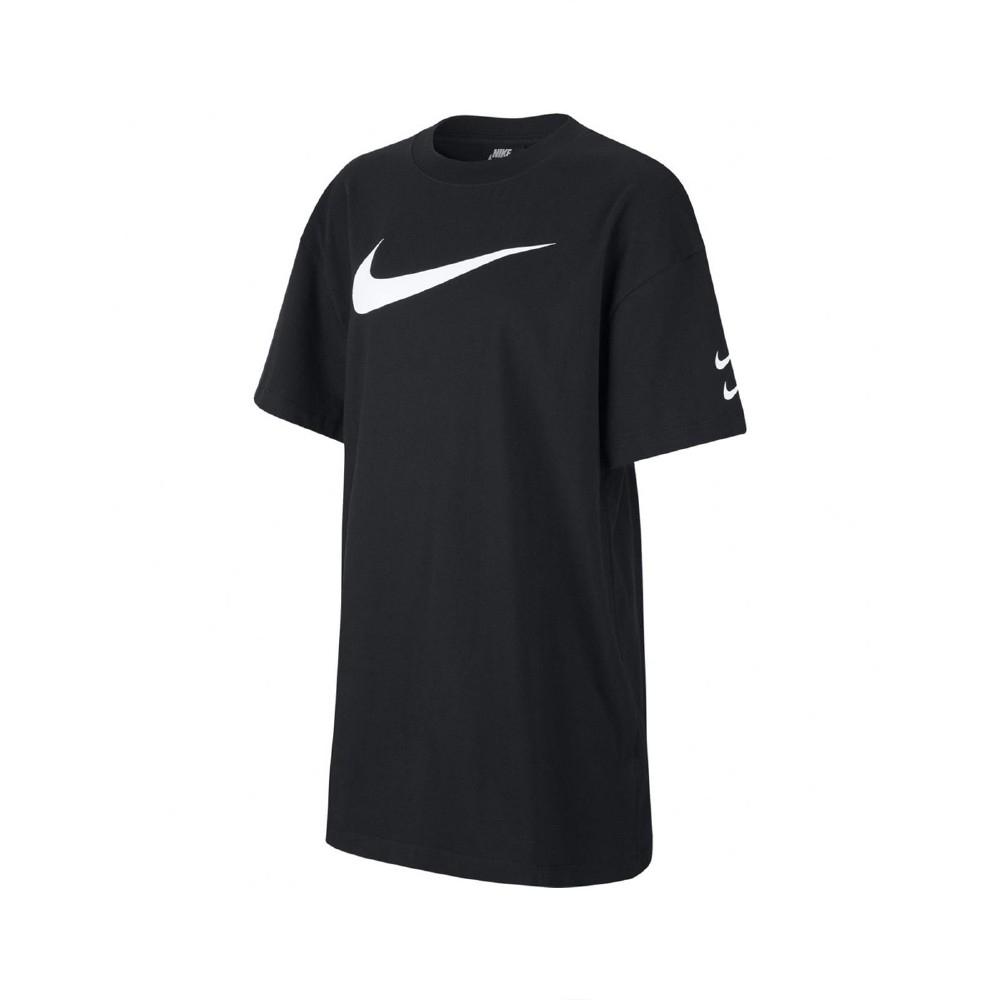 Nike 洋裝 NSW Swoosh Dress 女款 長版 圓領 一件式 外出方便 穿搭 黑 白 CJ3830010