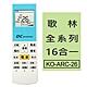 (3入組)【企鵝寶寶】歌林全系列16合一冷氣機遙控器  KO-ARC-26 product thumbnail 1
