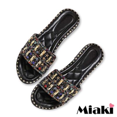 Miaki-拖鞋水鑽時尚平底涼拖-黑