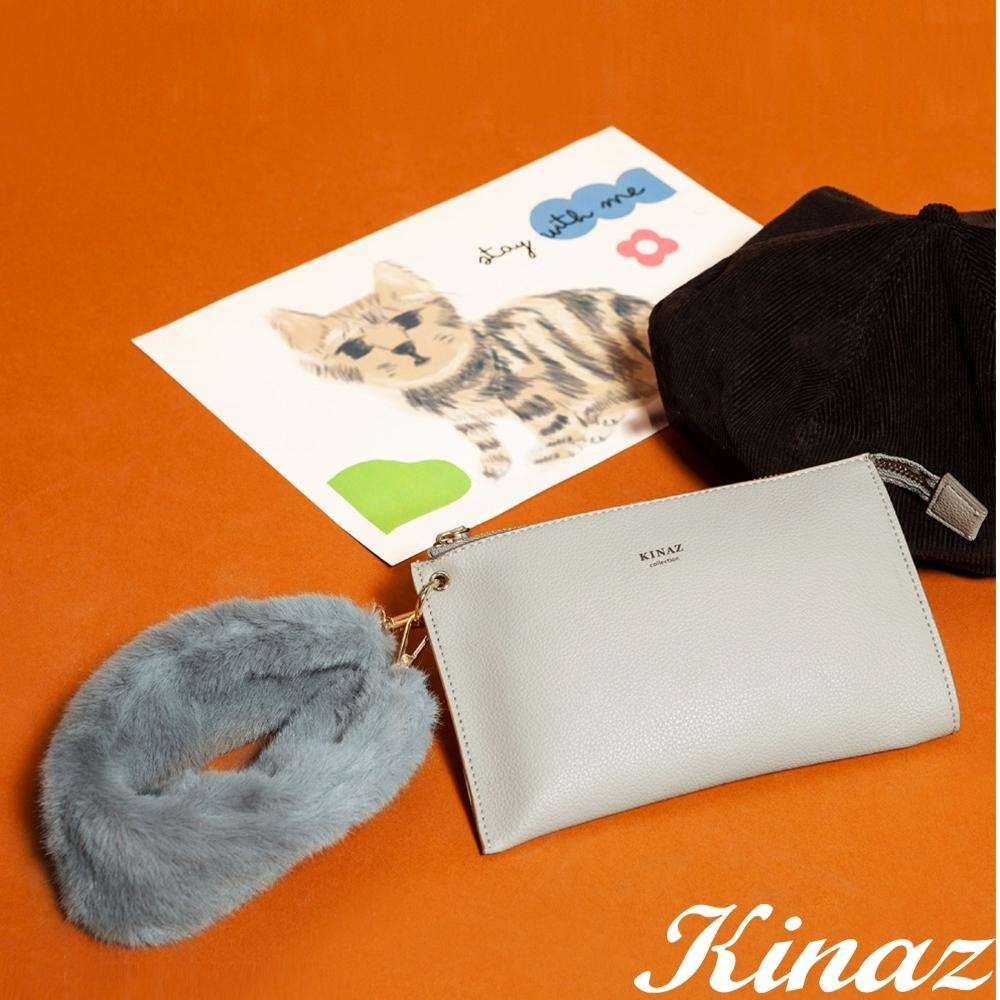 KINAZ 手腕毛毛手拿包-知性米灰-小圓姐姐系列