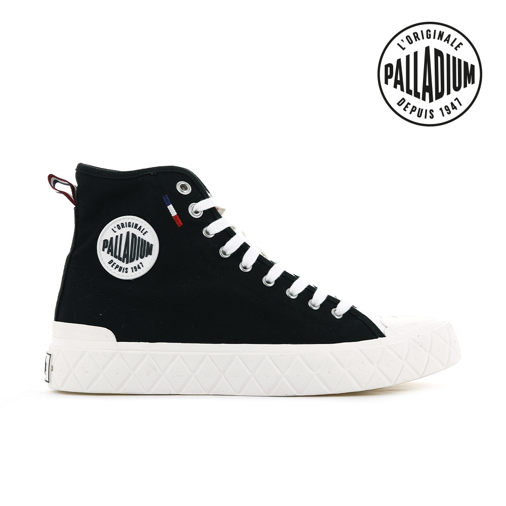 PALLADIUM PALLA ACE CVS MID格紋厚底高筒帆布鞋-中性-黑/白