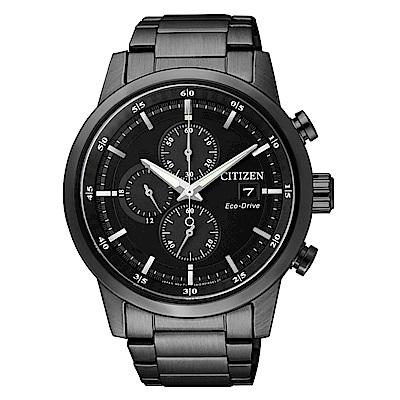 CITIZEN 簡約質感光動能三眼計時錶-黑鋼/CA0615-59E