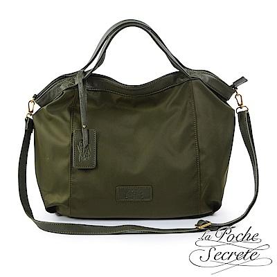 La Poche Secrete手提包 輕盈時尚牛皮X尼龍吊牌側背包-森林綠