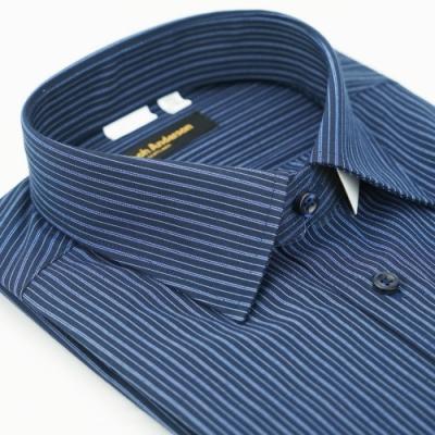 【金‧安德森】深藍白條紋窄版短袖襯衫