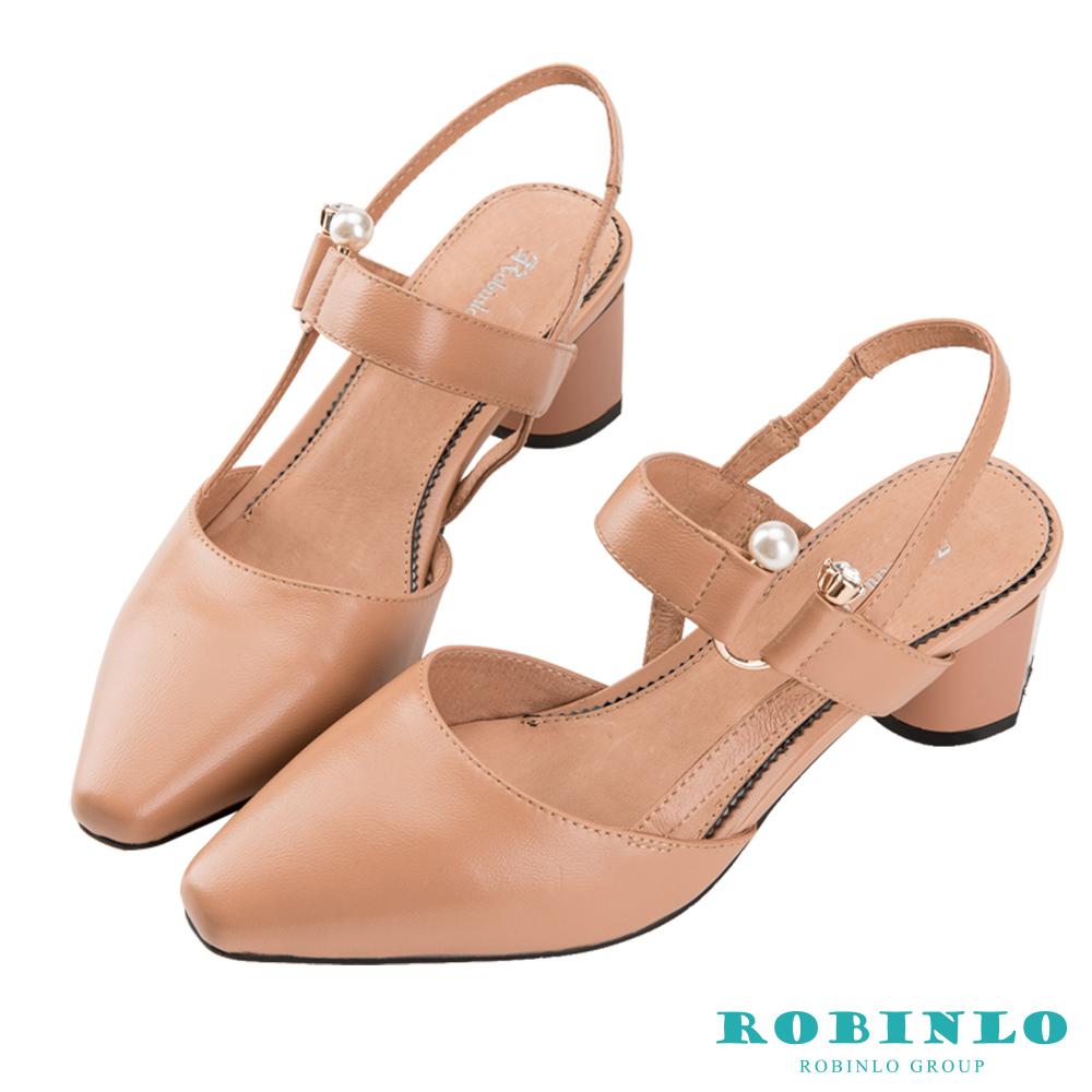 Robinlo 名媛風交叉織帶珍珠鑽扣低跟涼鞋 杏