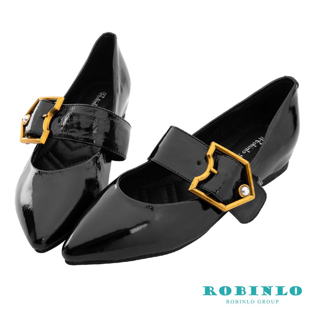Robinlo 都會復古珍珠飾扣尖頭平底鞋 黑