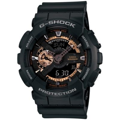 CASIO 卡西歐  G-SHOCK系列 復古重機雙顯電子錶-黑x玫瑰金/55.0mm