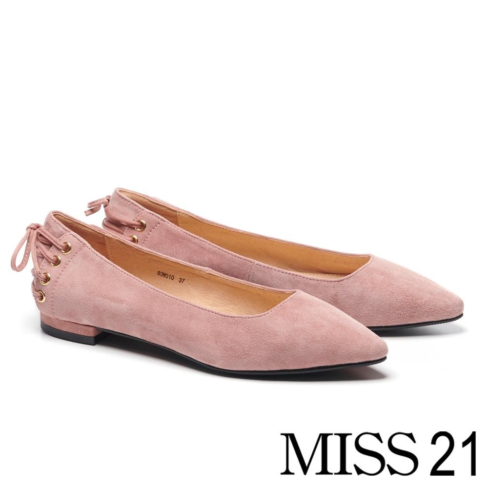 跟鞋 MISS 21 簡約復古後綁帶造型羊麂皮尖頭低跟鞋-粉