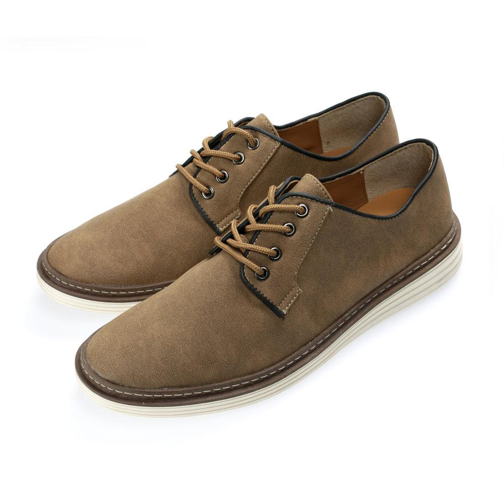 BuyGlasses 麂皮純色素面休閒鞋-棕