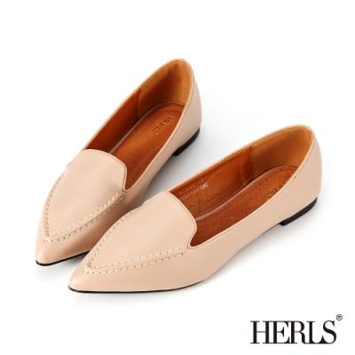 HERLS樂福鞋-內真皮立體縫線尖頭平底鞋樂福鞋-奶茶色