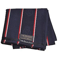 TRUSSARDI 經典品牌皇家圖騰LOGO帕領巾(深藍系)