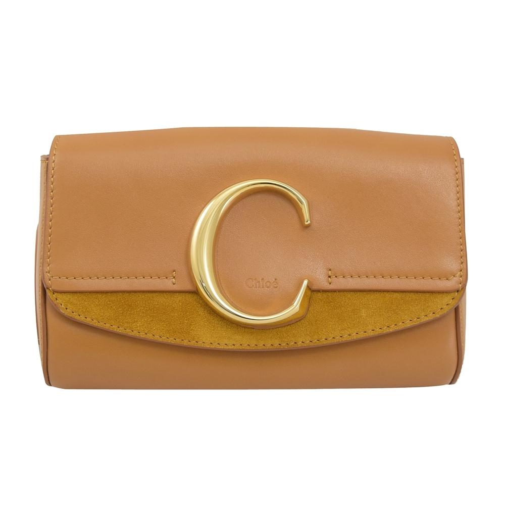 CHLOE C Bag系列牛皮拼接造型腰包(咖)