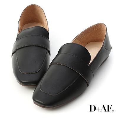 D+AF 日常百搭.可後踩平底樂福鞋*黑