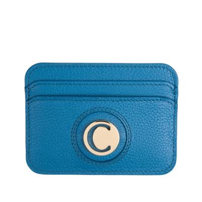 CHLOE 經典C LOGO 全牛皮信用卡名片夾 (藍色)