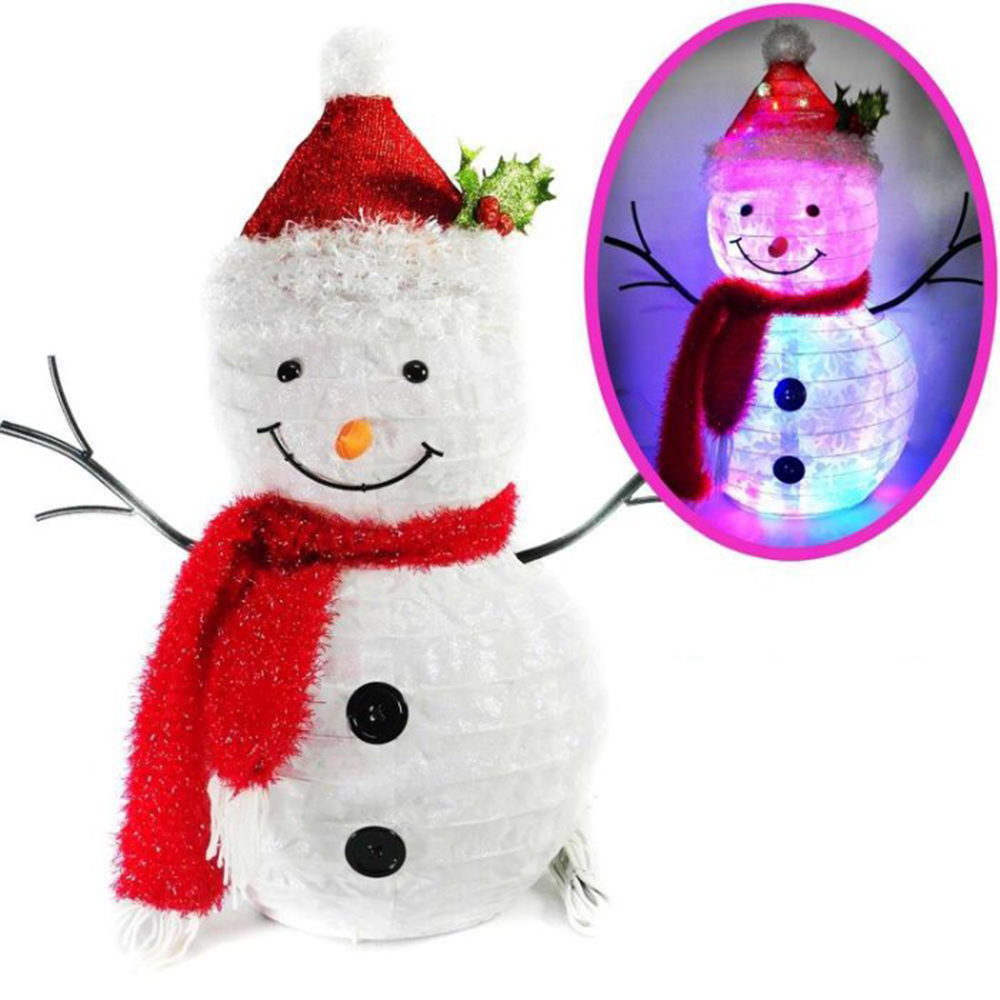 摩達客 中型聖誕彈簧折疊雪人LED燈擺飾 (60cm高/插電式燈串)