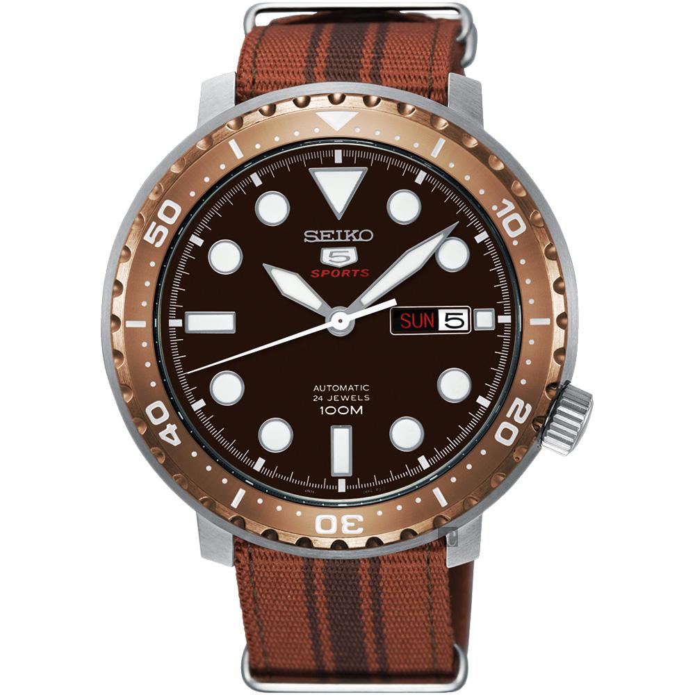 SEIKO 精工5號系列 復刻小鮪魚機械錶(SRPC68J1)-咖啡x帆布帶/44mm