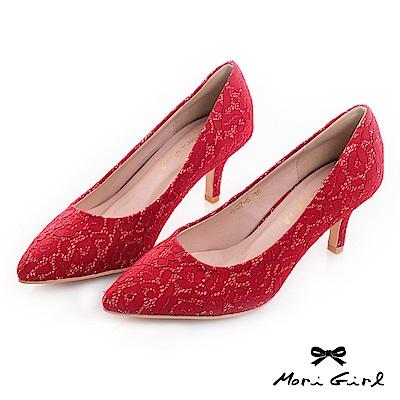 Mori girl 2WAY可拆式蝴蝶結蕾絲中低跟鞋 紅