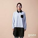 gozo 異材質拼接假二件造型洋裝(淺灰)
