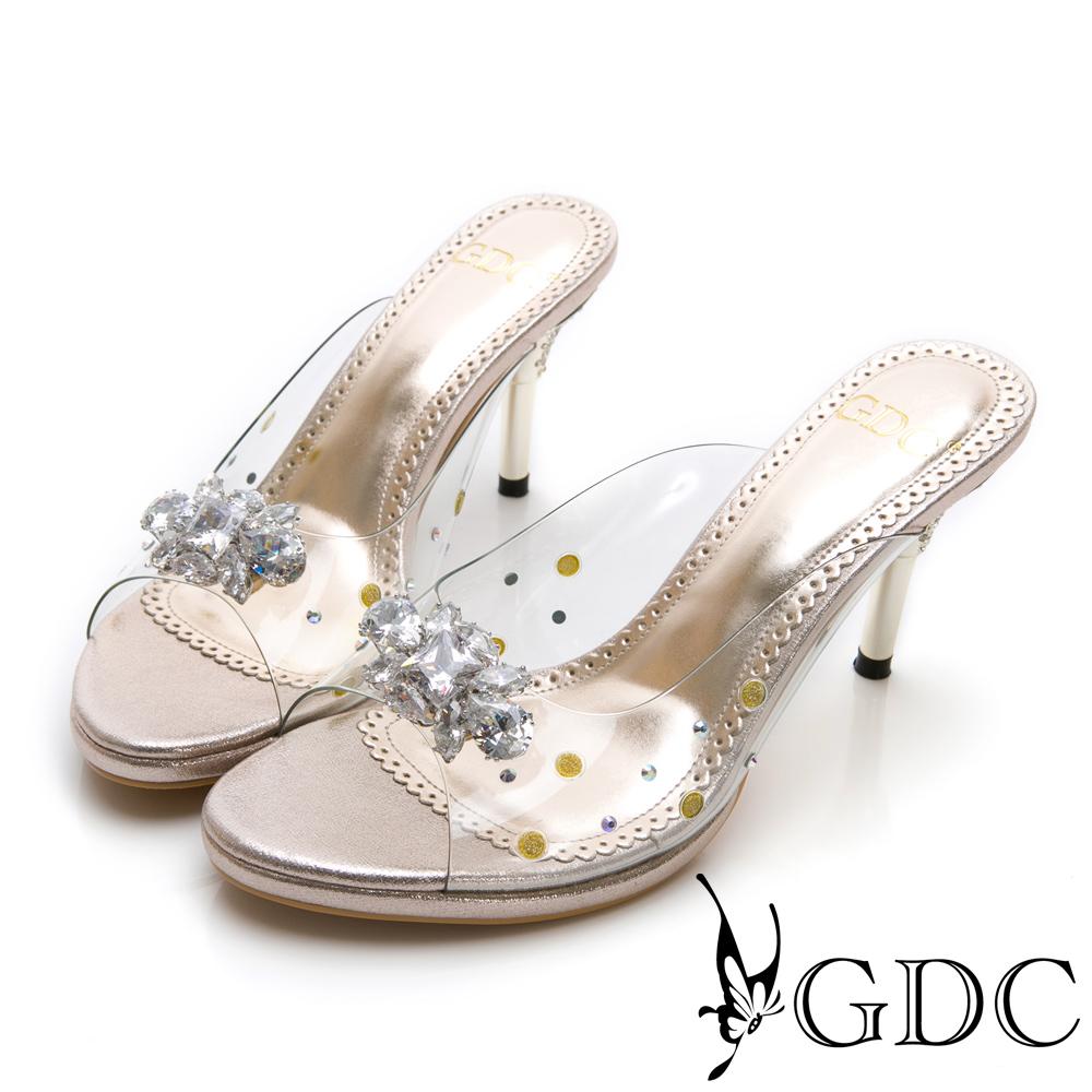 GDC-高貴水鑽玻璃感公主拖鞋-金色