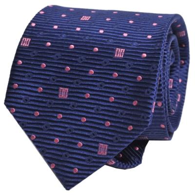 DAKS 經典品牌DD圖騰領帶(藍底/粉紋)
