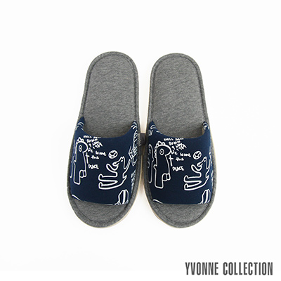 Yvonne Collection 柏林開口室內拖鞋-深藍L