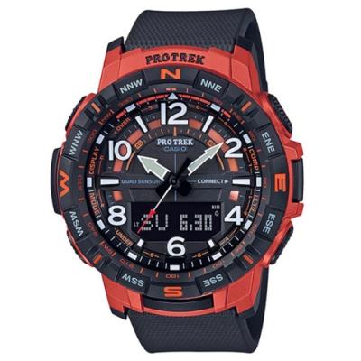 PROTREK 運動冒險家風格數字設計藍芽錶(PRT-B50-4)紅框/57.4mm