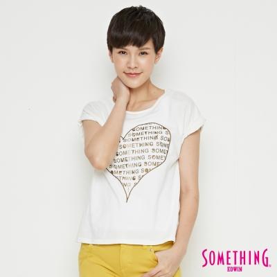 SOMETHING 心型LOGOT恤-女-白色
