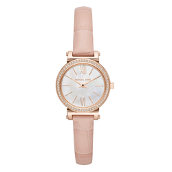 Michael Kors 氣質典雅晶鑽皮革腕錶-粉紅(MK2715)/25mm