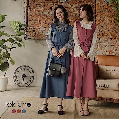 東京著衣 多色甜美洋氣荷葉邊綁帶洋裝-S.M(共三色)