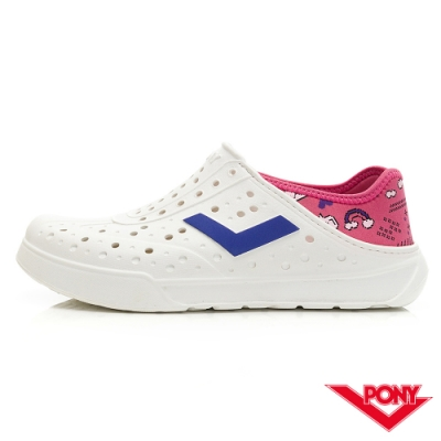 【PONY】ENJOY系列洞洞鞋-中性款-數位/粉