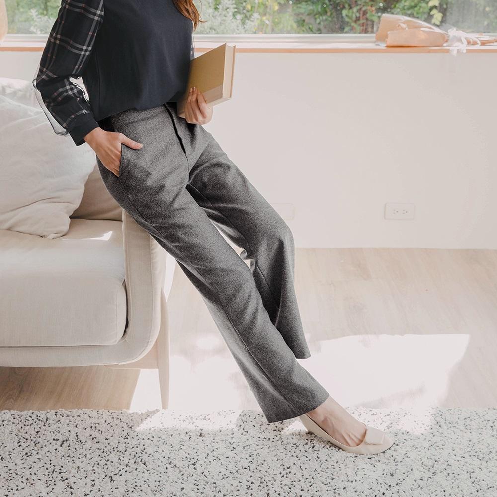 磨毛針織織紋後鬆緊腰頭直筒褲-OB大尺碼