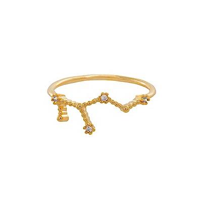 Wanderlust+Co 澳洲時尚品牌 水鑽十二星座系列 處女座金色戒指